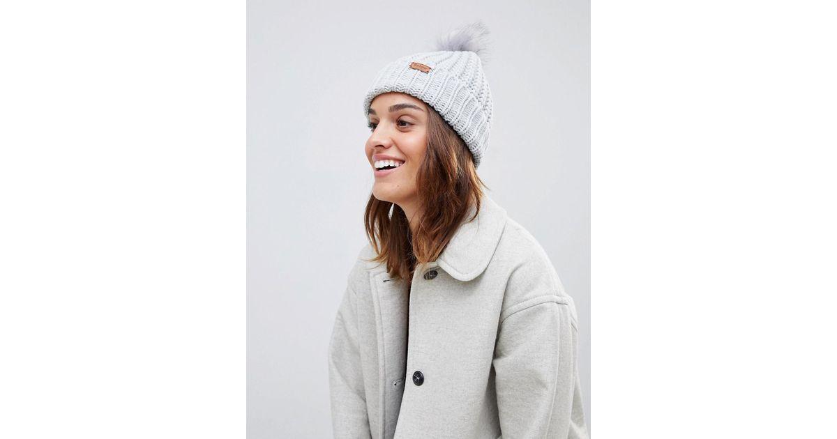Barbour Chunky Knit Pom Pom Beanie Hat in White - Lyst c965b02f01c