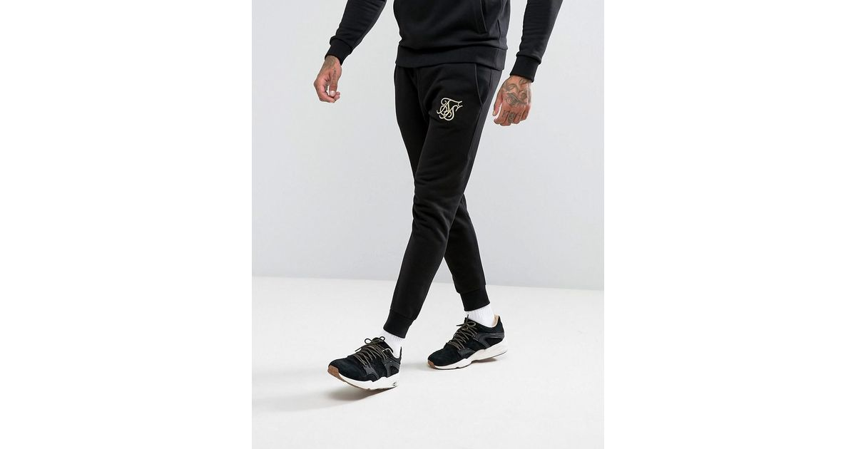 SIKSILK Joggers In Black With Gold Logo in Black for Men - Lyst fa76e793a9dd