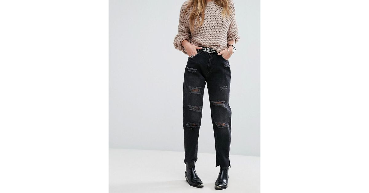 4812af8d24d Pull&Bear Destroyed Mom Jeans in Black - Lyst
