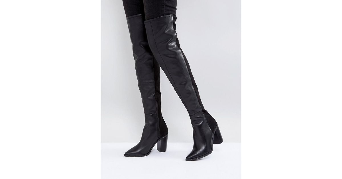 6992352a075 ALDO Thirassa Leather Studded Over The Knee Boots in Black - Lyst