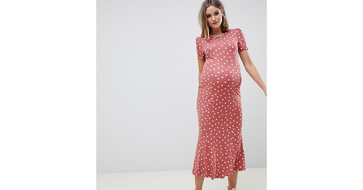 0399185120a Lyst - ASOS Asos Design Maternity City Maxi Tea Dress In Polka Dot in Red