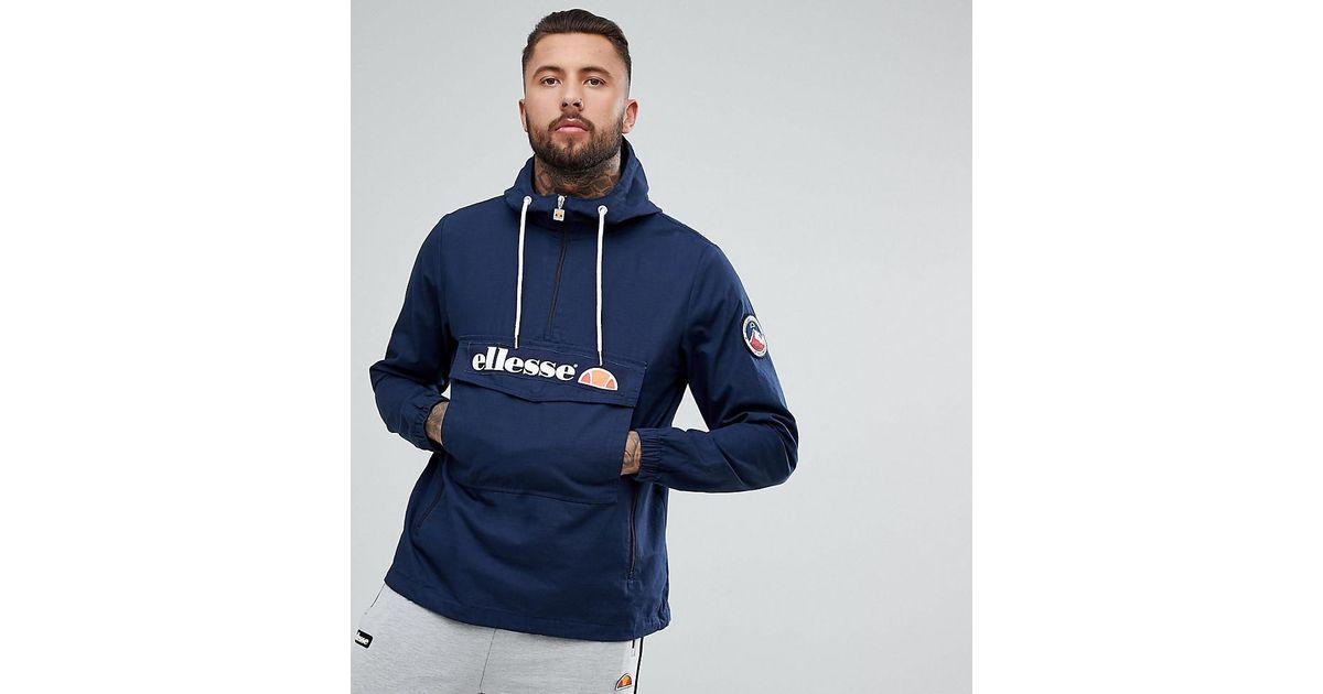 real deal discount sale new arrivals Ellesse Blue Oversized Overhead Jacket In Navy for men