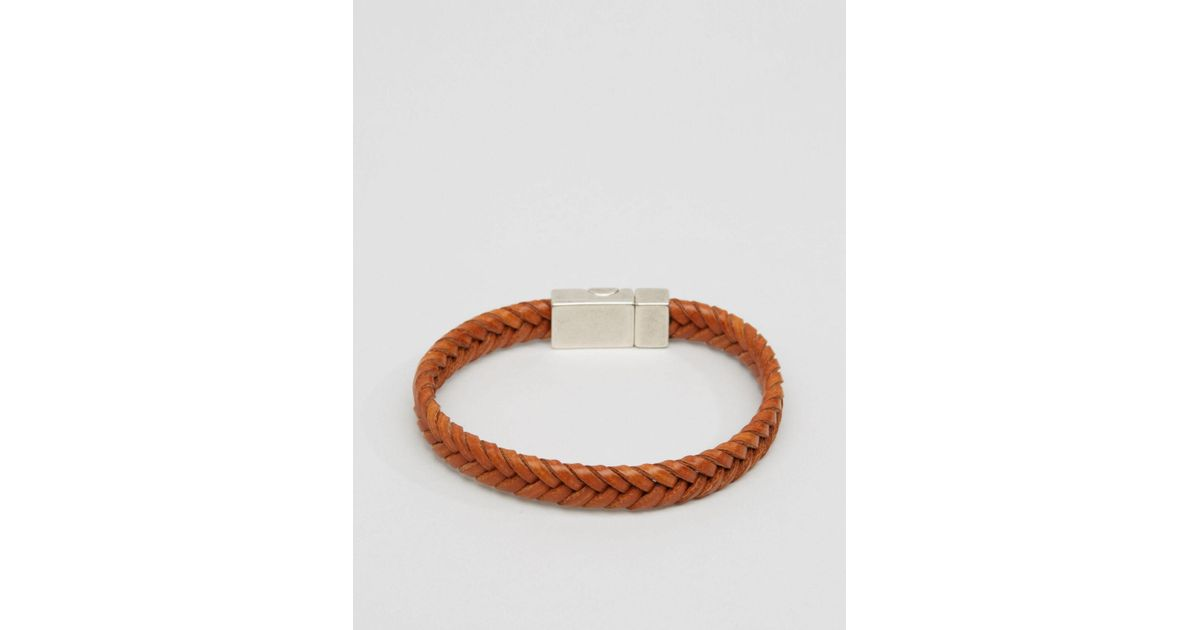 Lyst - Asos Plaited Faux Leather Bracelet In Tan for Men c44685735b