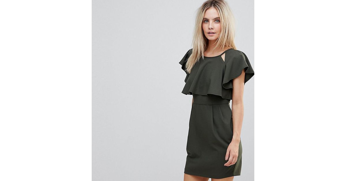 cb43523a452 Lyst - ASOS Double Layer Mini Wiggle Dress With Angel Sleeve in Green