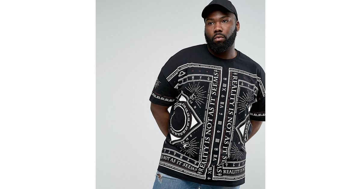 Lyst - Asos Plus Super Oversized T-shirt With All Over Symbol Print in  Black for Men
