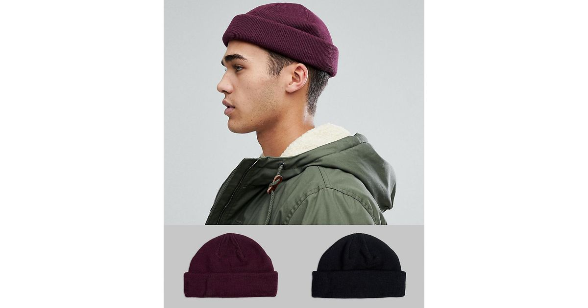 Lyst - ASOS Mini Fisherman Beanie 2 Pack In Black   Burgundy Save in Black  for Men a13f29a9924