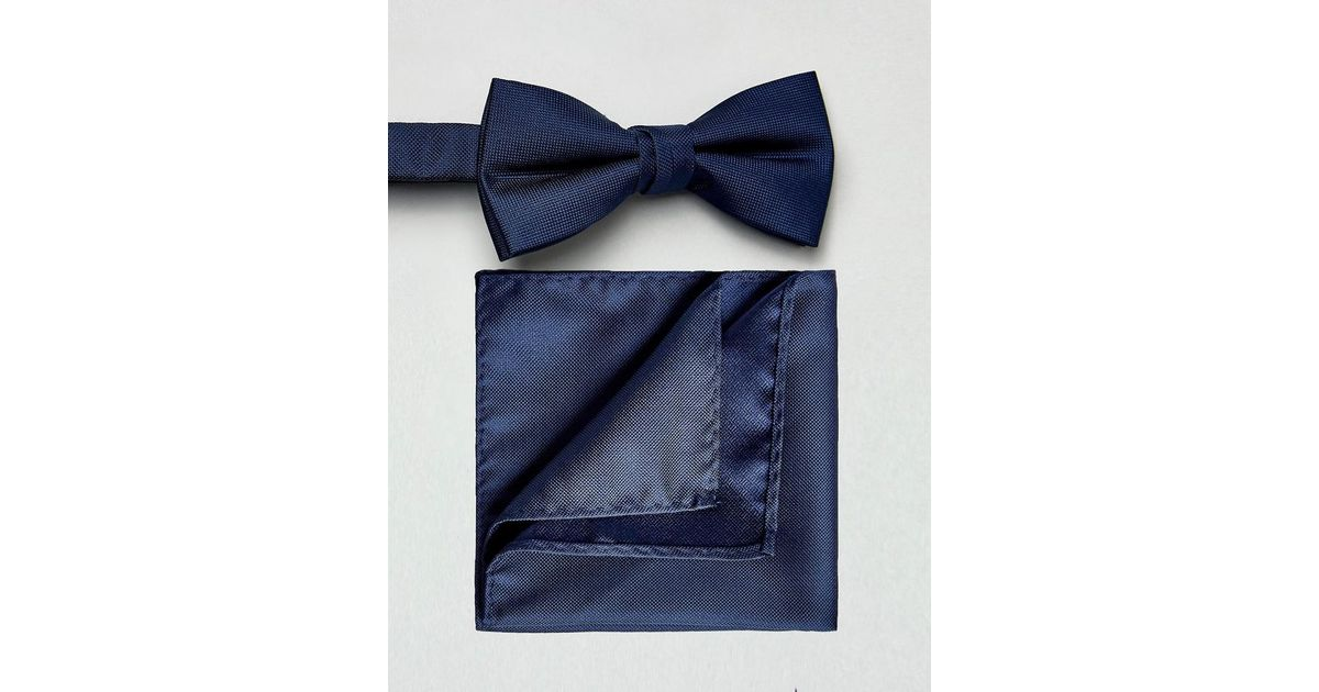 Bow Tie & Pocket Square Set - Navy Selected