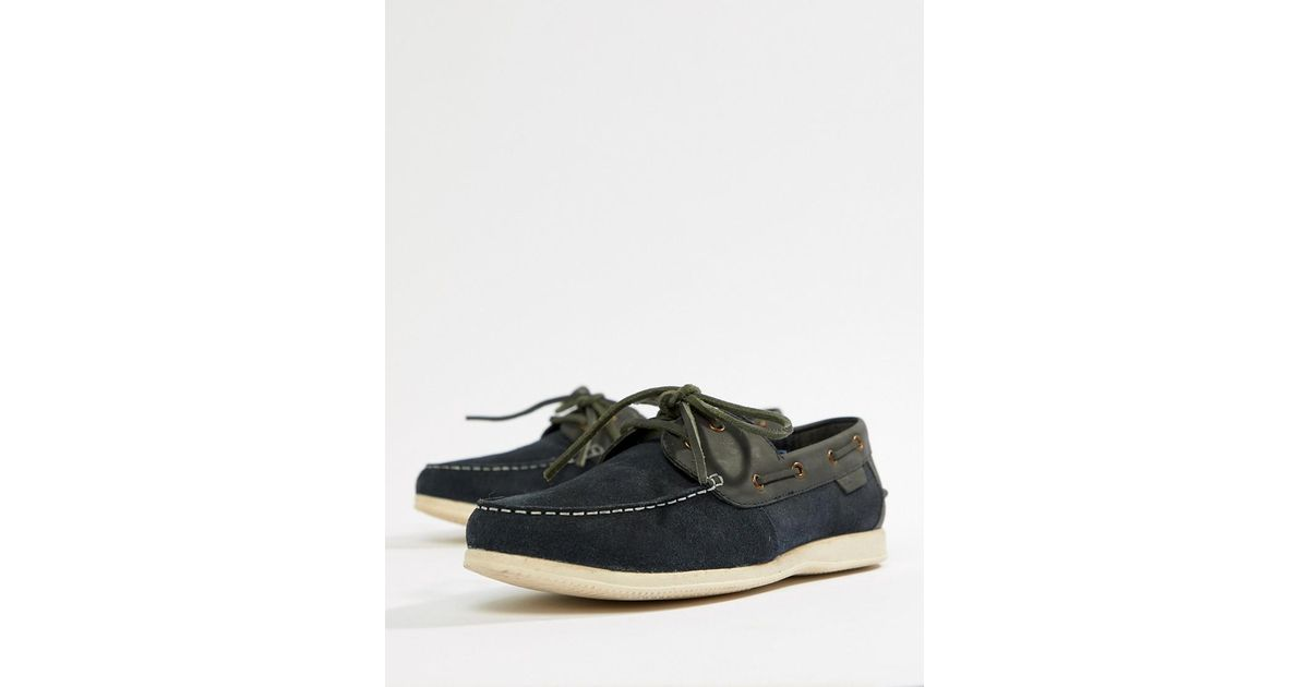 54ff8191f0e3 Ben Sherman Boat Shoes In Navy Leather in Blue for Men - Lyst