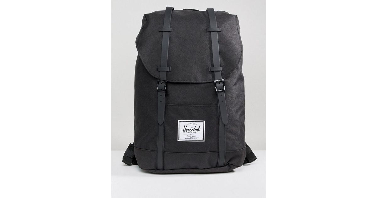 92a7b5f9d7 Lyst - Herschel Supply Co. Retreat Backpack In Black With Rubberised Straps  in Black for Men