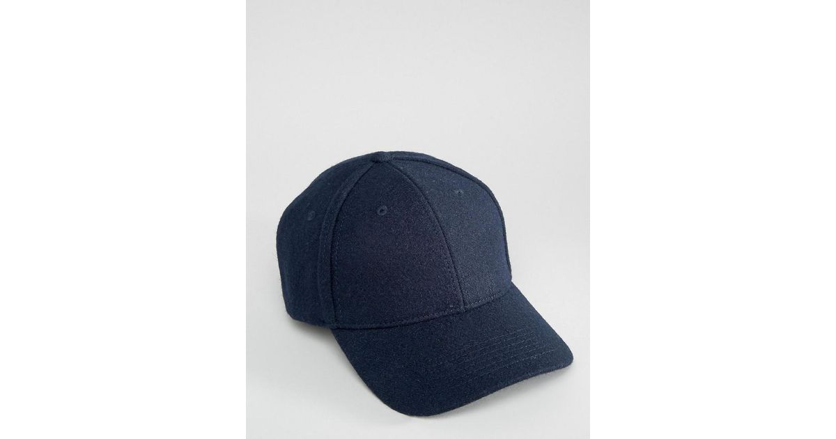 Lyst - SELECTED Baseball Cap In Wool in Blue for Men 45edb6251983