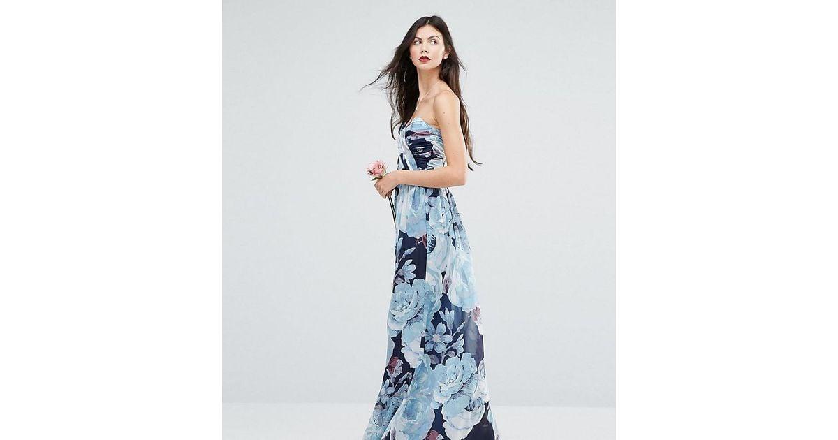 c64fff90452c0 ASOS Wedding Chiffon Bandeau Blue Floral Printed Maxi Dress in Blue - Lyst