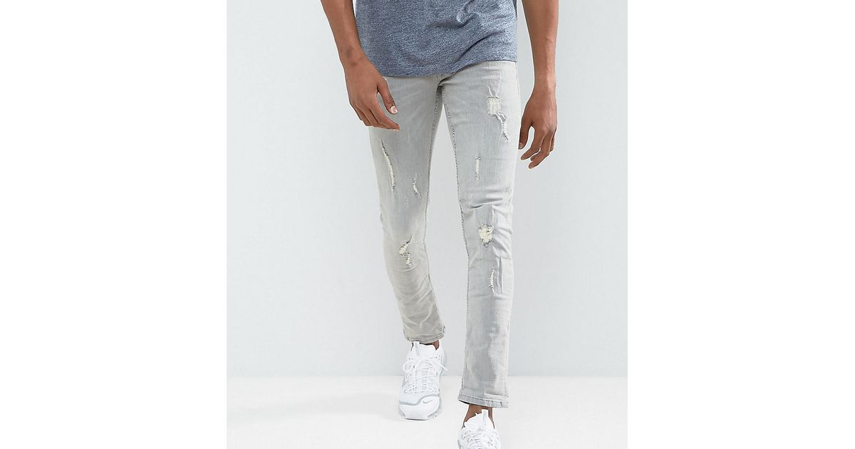 13588ae6 Blend Cirrus Skinny Fit Jean Ripped Light Grey Wash in Gray for Men - Lyst