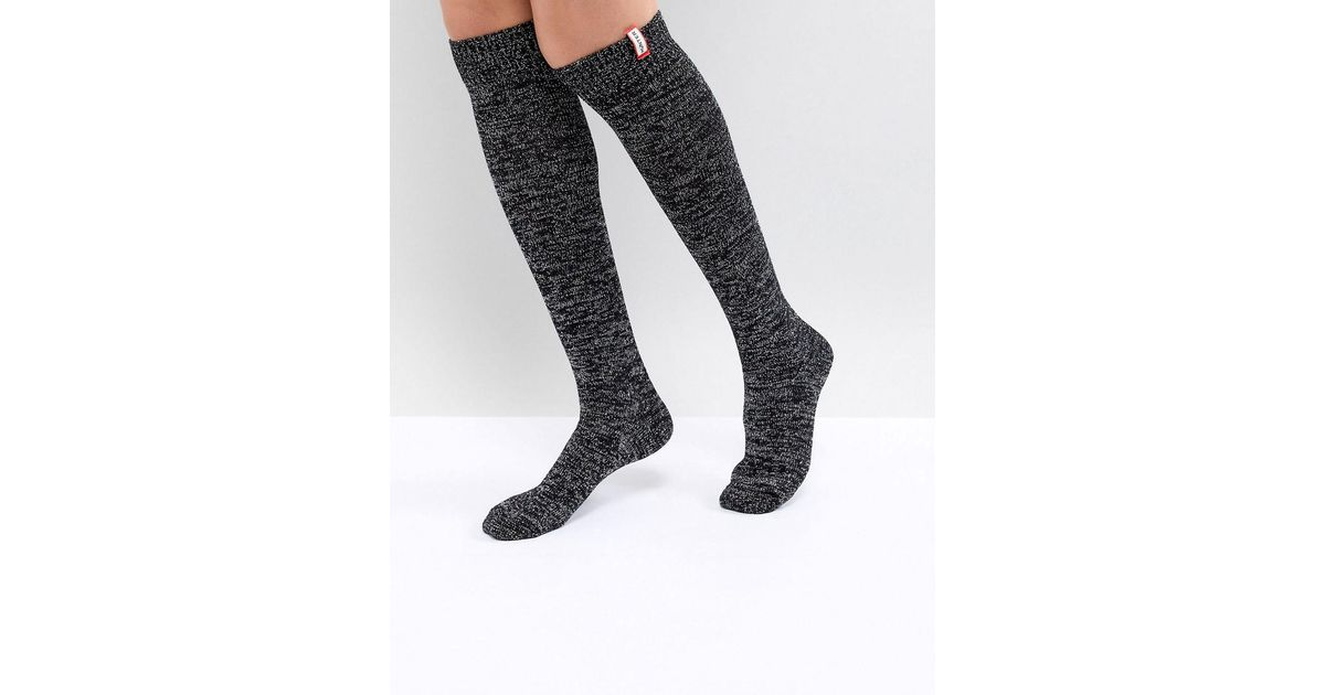 7dae68149aa HUNTER Original Black Knee High Glitter Boot Socks in Black - Lyst