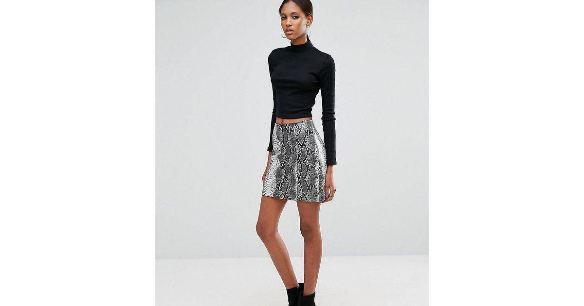 99609029e2da ASOS Snake Print Pu Mini Skirt in Black - Lyst
