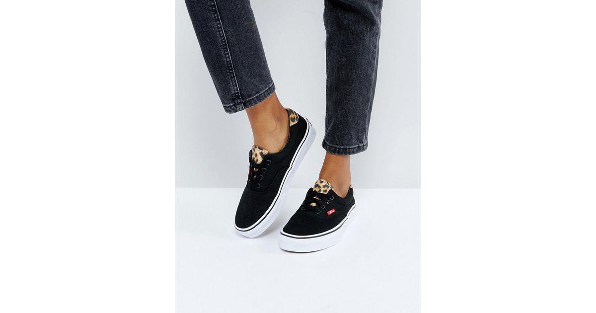 aa053f981d Vans Leopard Trim Era Sneakers in Black - Lyst