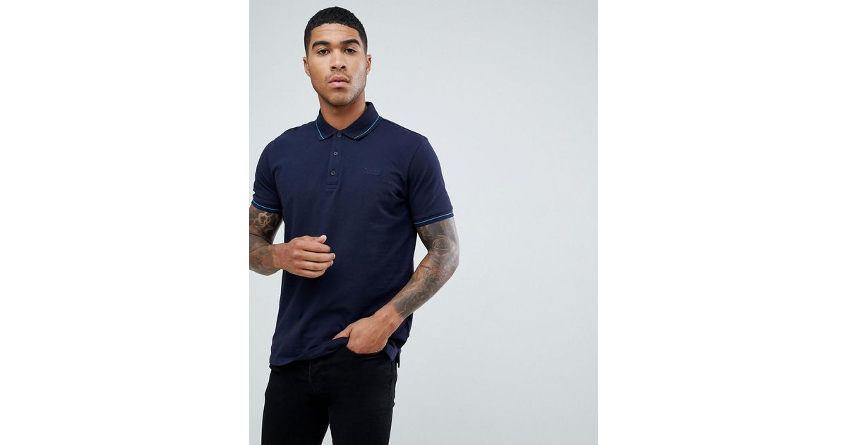 f846a2ba912 Hugo Daruso Tipped Pique Polo In Navy in Blue for Men - Lyst