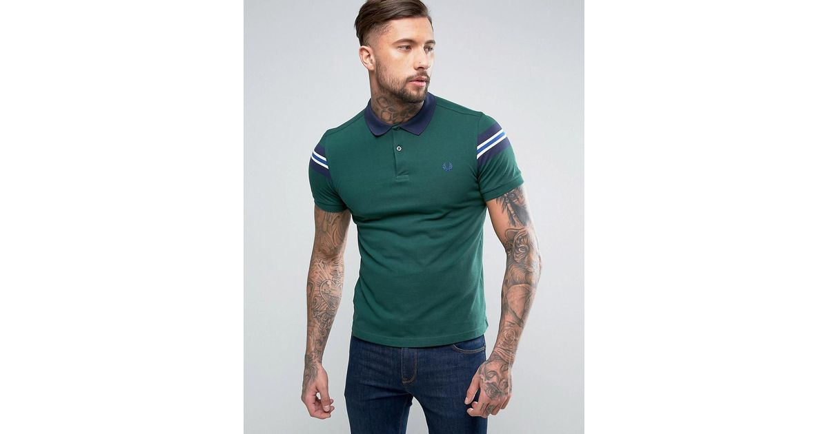 d8126423 Fred Perry Slim Pique Polo Bomber Stripe Sleeve In Ivy Green in Green for  Men - Lyst