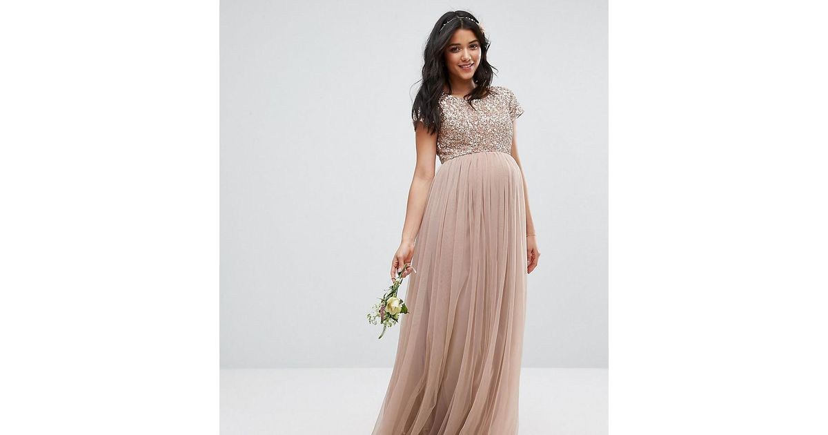 2d53878543fcc Maya Maternity Maxi Dress With Delicate Sequin And Tulle Skirt in Gray -  Lyst