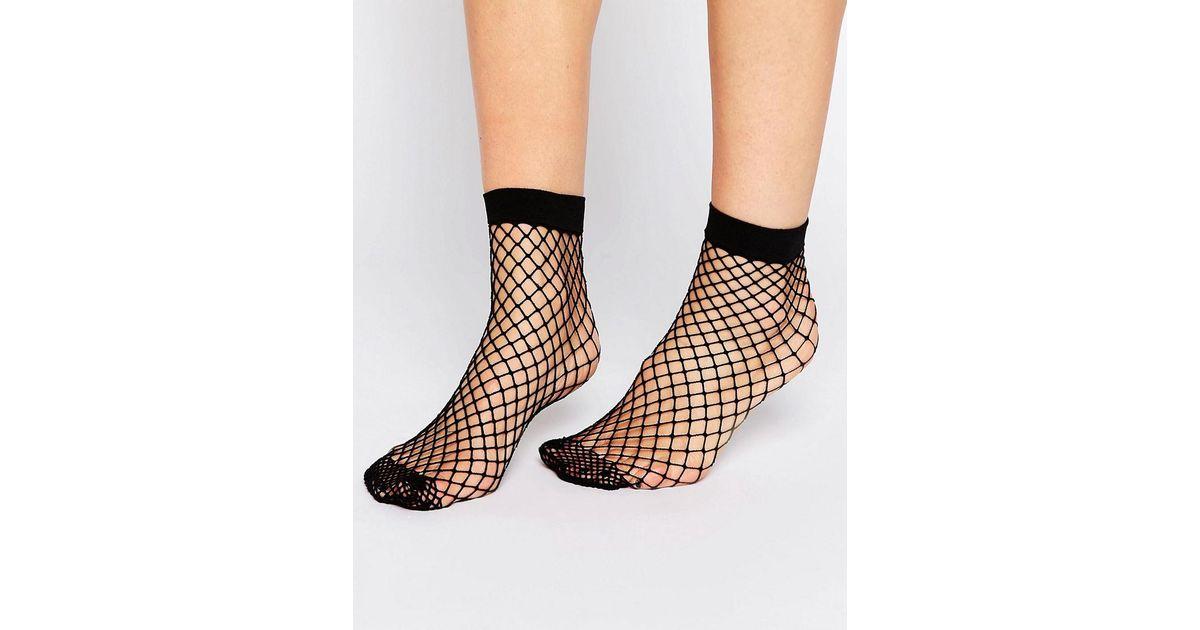 2e65b472e ASOS Oversized Fishnet Ankle Socks in Black - Lyst