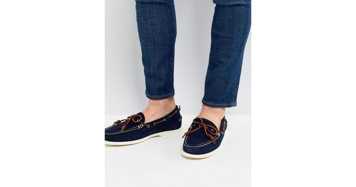 Polo Ralph Lauren Millard Suede Slip On Boat Shoes In Navy in Blue for Men  - Lyst