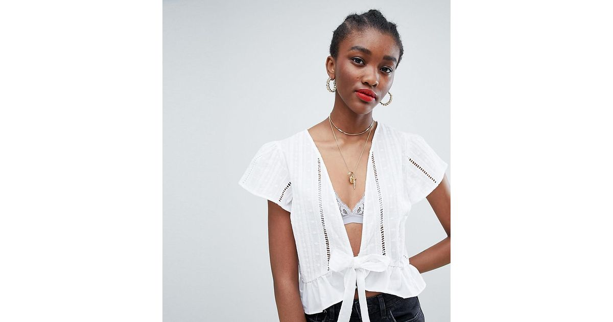 6b43624dfc47ee New Look Broderie Tie Front Blouse in White - Lyst