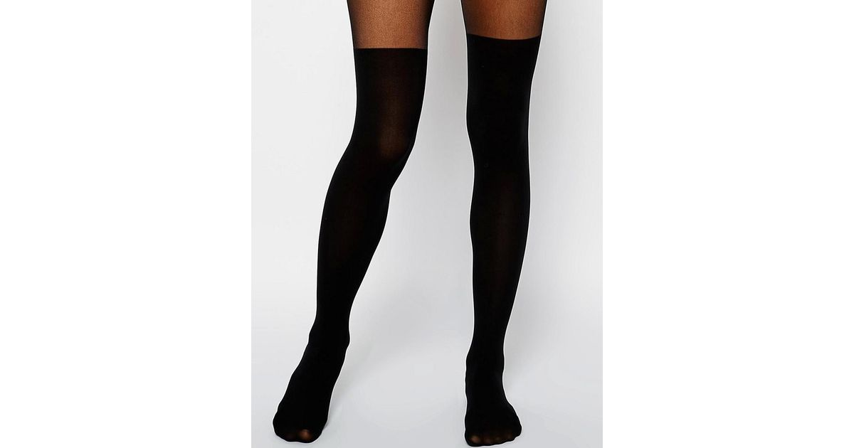 df28f3b02fe ASOS Mock Over The Knee Tights With Bum And Tum Support in Black - Lyst