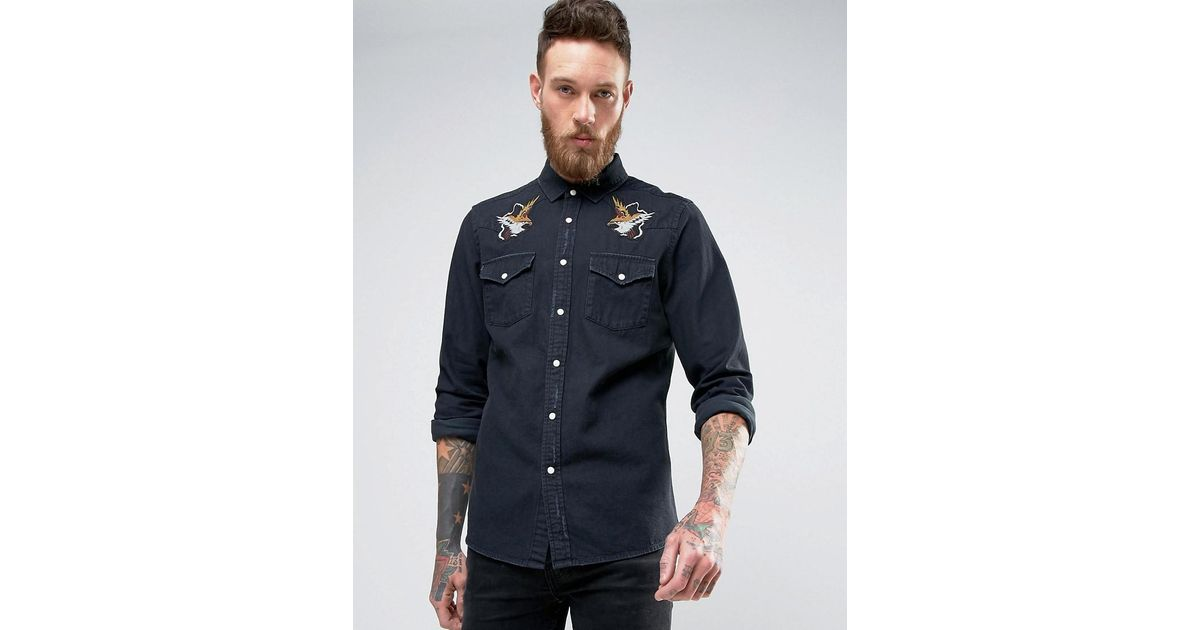 Lyst asos regular fit western denim shirt with distressing and