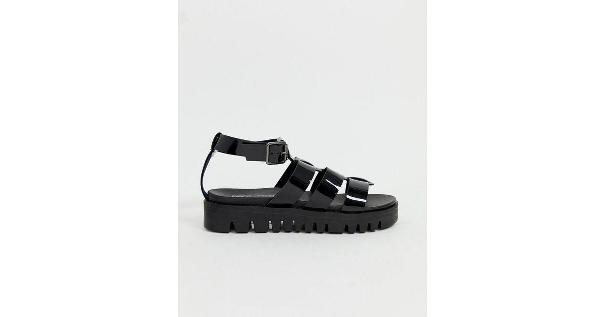 a98c2eddb9b ASOS Felton Chunky Jelly Flat Sandals in Black - Lyst