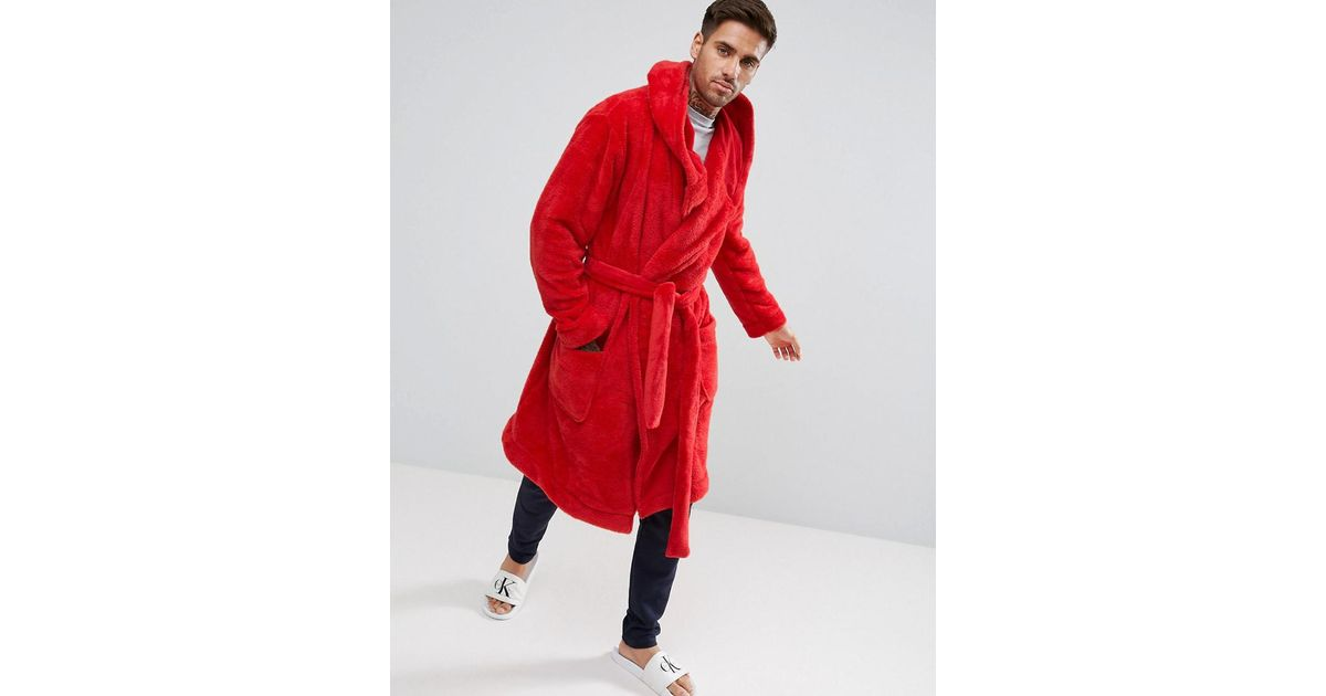 Lyst - Asos Hooded Robe In Fleece in Red for Men