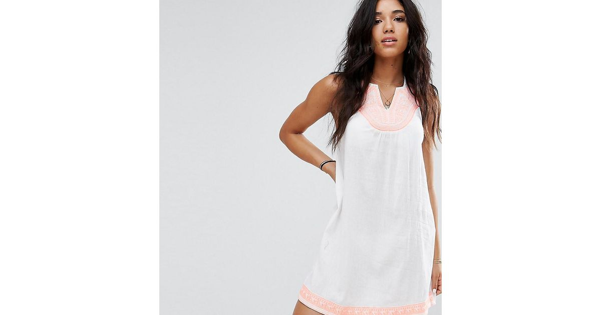 d702ac94683c Lyst - Akasa Embroidered Tassel Detail Beach Dress in White