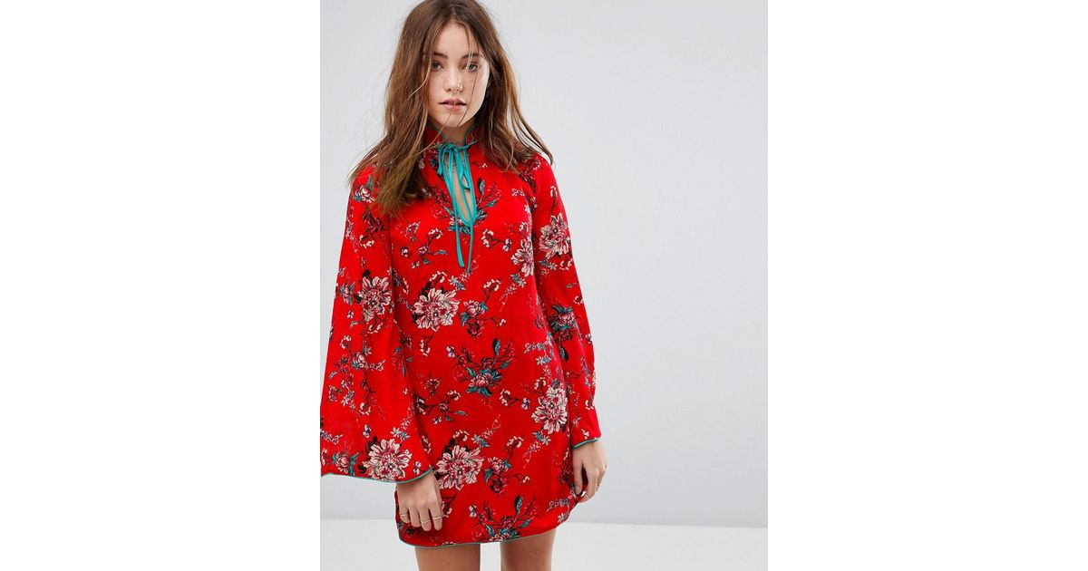 1f4b96a7509 Glamorous Long Sleeve Shift Dress With High Collar In Romantic Floral in  Red - Lyst