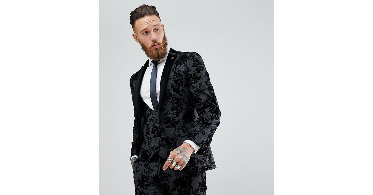 6794a0634769 Noose And Monkey Super Skinny Suit Jacket In Flocking in Black for Men -  Lyst