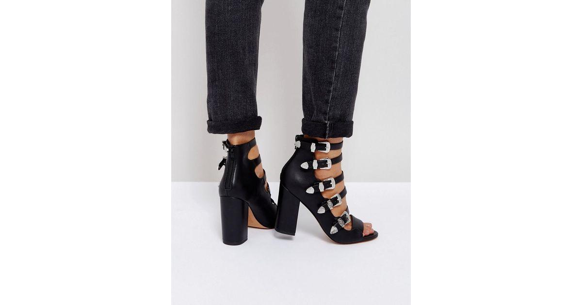 PISTON Multi Strap Western Heeled Sandals - Black Asos FBaLZdinr