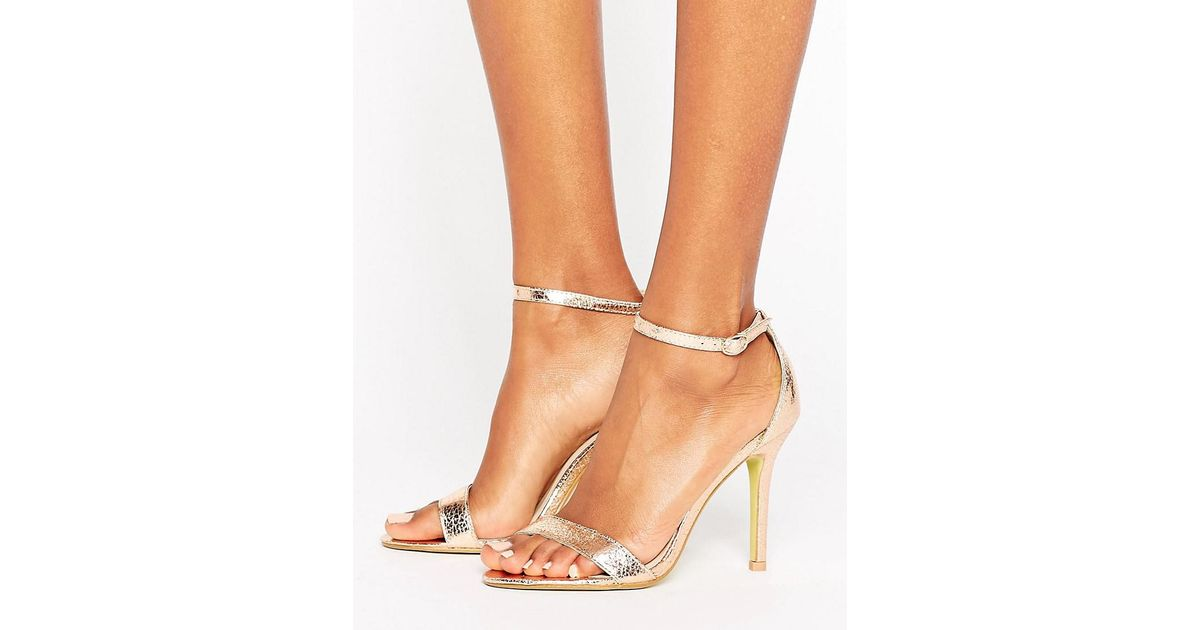 adbc9f99e348 Glamorous Gold Patent Two Part Heeled Sandals in Metallic - Lyst