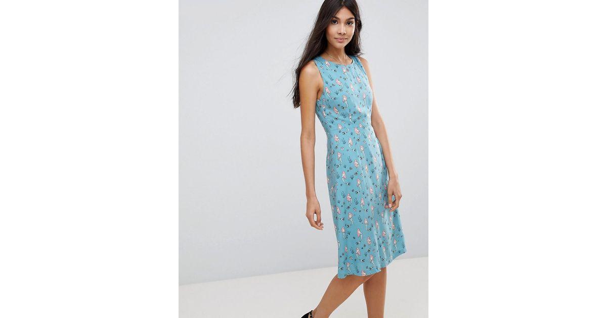 6ddb343bc4d1 Lyst - Sugarhill Mermaid Print Fit & Flare Dress in Blue