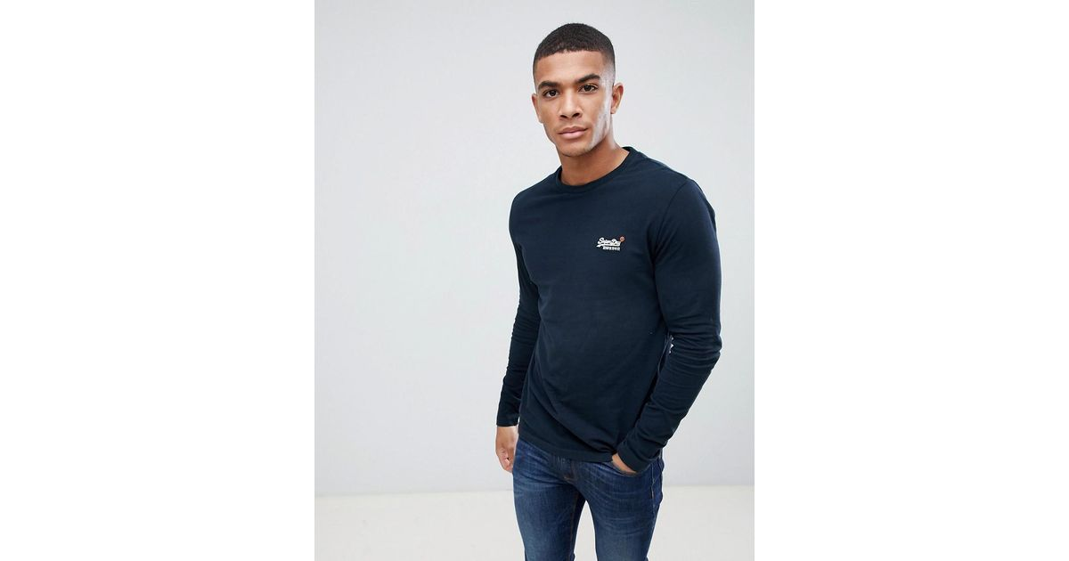 3ae8cb249e3 Superdry Orange Long Sleeve Top With Embroidery In Navy in Blue for Men -  Lyst