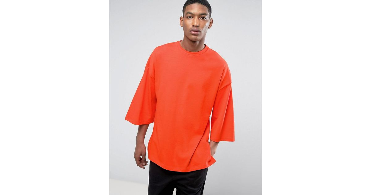 110a4e1e ASOS Oversized T-shirt With Extreme Wide Sleeves In Orange Heavyweight  Jersey in Natural for Men - Lyst