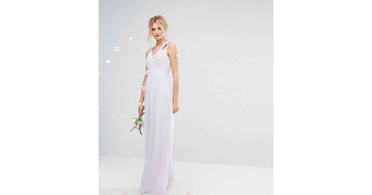 Lyst tfnc london wedding wrap front maxi dress with for Tfnc wedding wrap maxi dress
