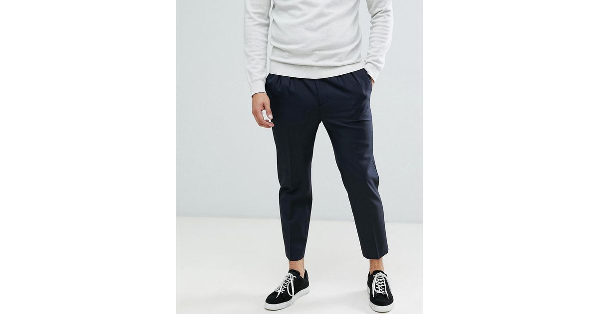 5957619282e9 Lyst - ASOS Tapered Crop Smart Pants In 100% Wool With Double Pleat in Blue  for Men