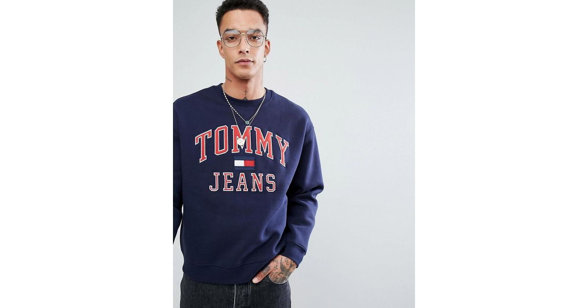 ac6df7672ec1db Hilfiger Denim Tommy Jeans 90 s Capsule Logo Sweatshirt In Navy in Blue for  Men - Lyst
