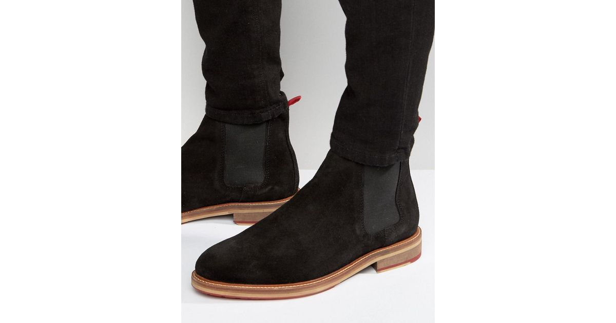 Chelsea Boots In Black Suede With Red Back Pull - Black Asos QajR5R