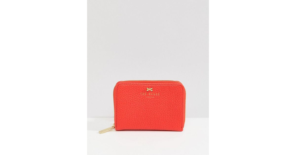 19f600c551f47e Ted Baker Small Zip Purse In Textured Leather in Red - Lyst