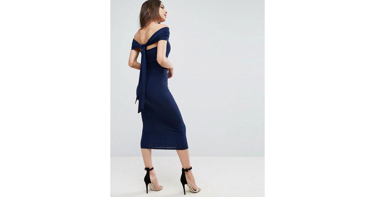 f835a1e5373 ASOS Multiway Bodycon Midi Dress in Blue - Lyst