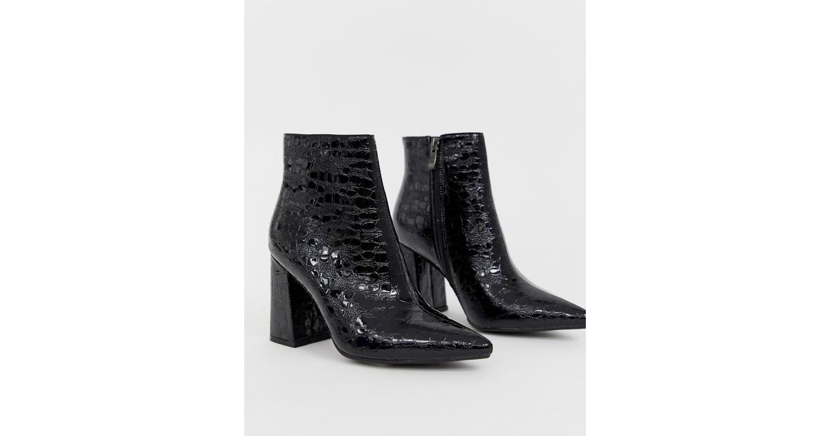 61f9fab22a8 Public Desire Hollie Black Mock Croc Heeled Ankle Boots in Black - Lyst
