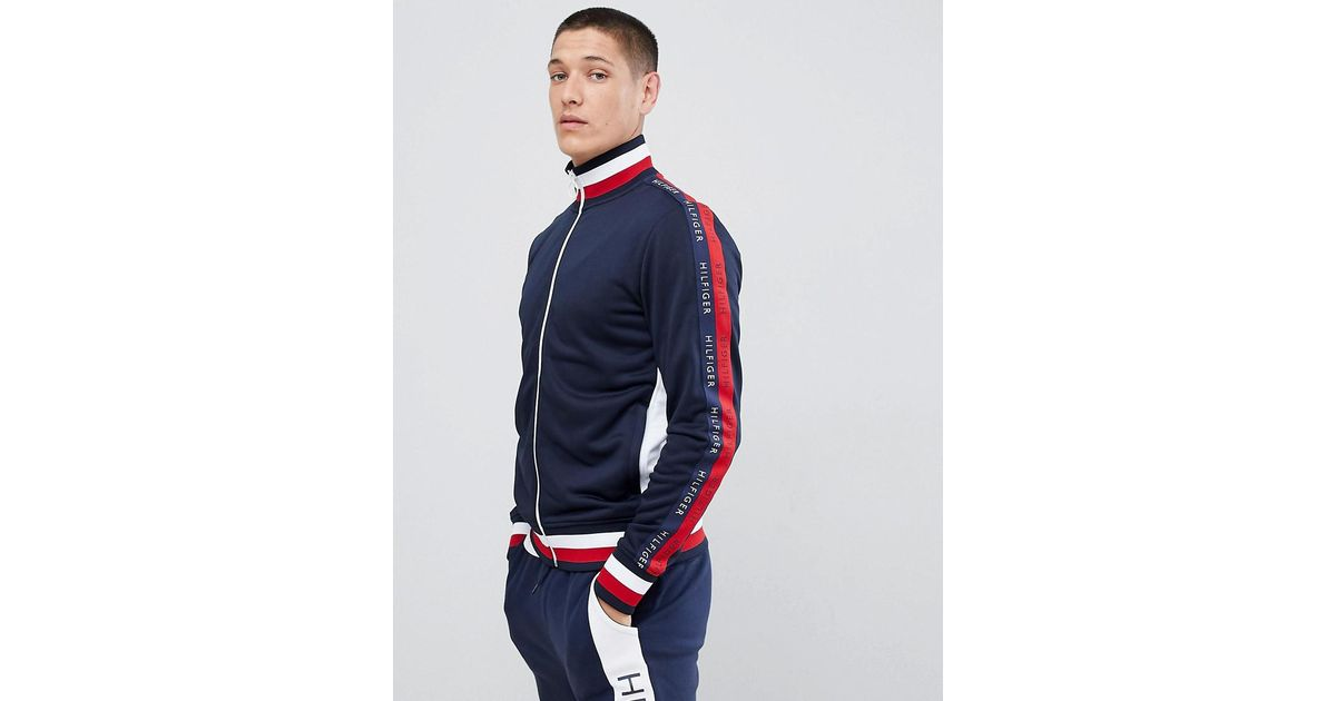 83a3d5de Tommy Hilfiger Sports Capsule Full Zip Track Top Icon Stripe Trim And Side  Taped Logo In Navy Marl in Blue for Men - Lyst