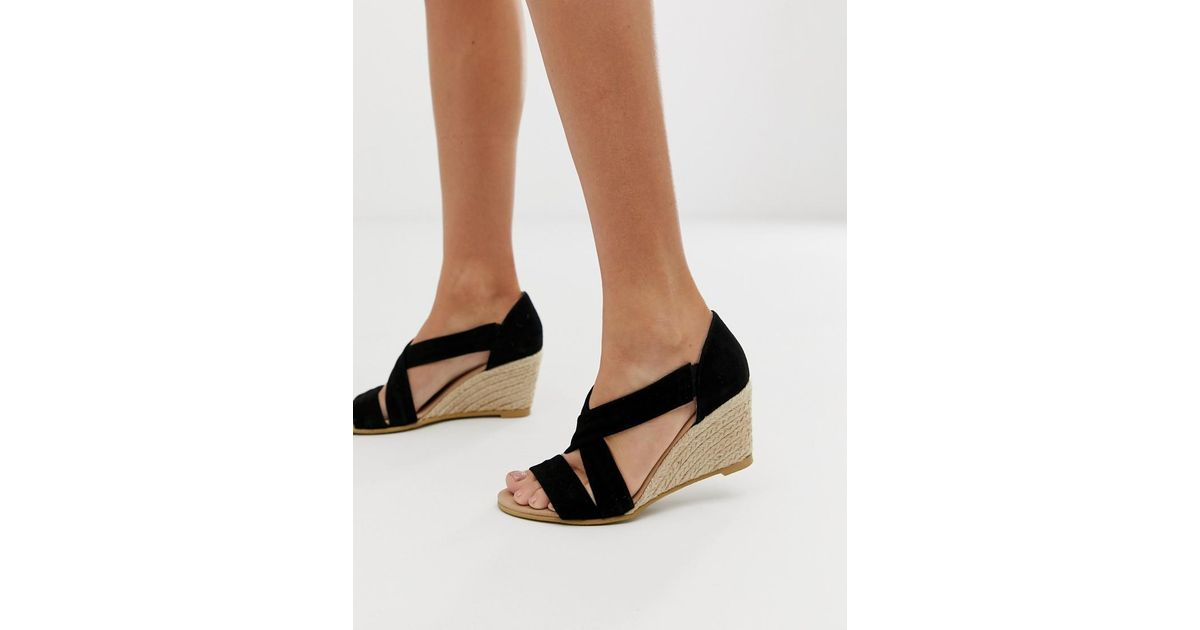 3805472204f4 Lyst - Office Maiden Black Suede Espadrille Mid Wedges in Black