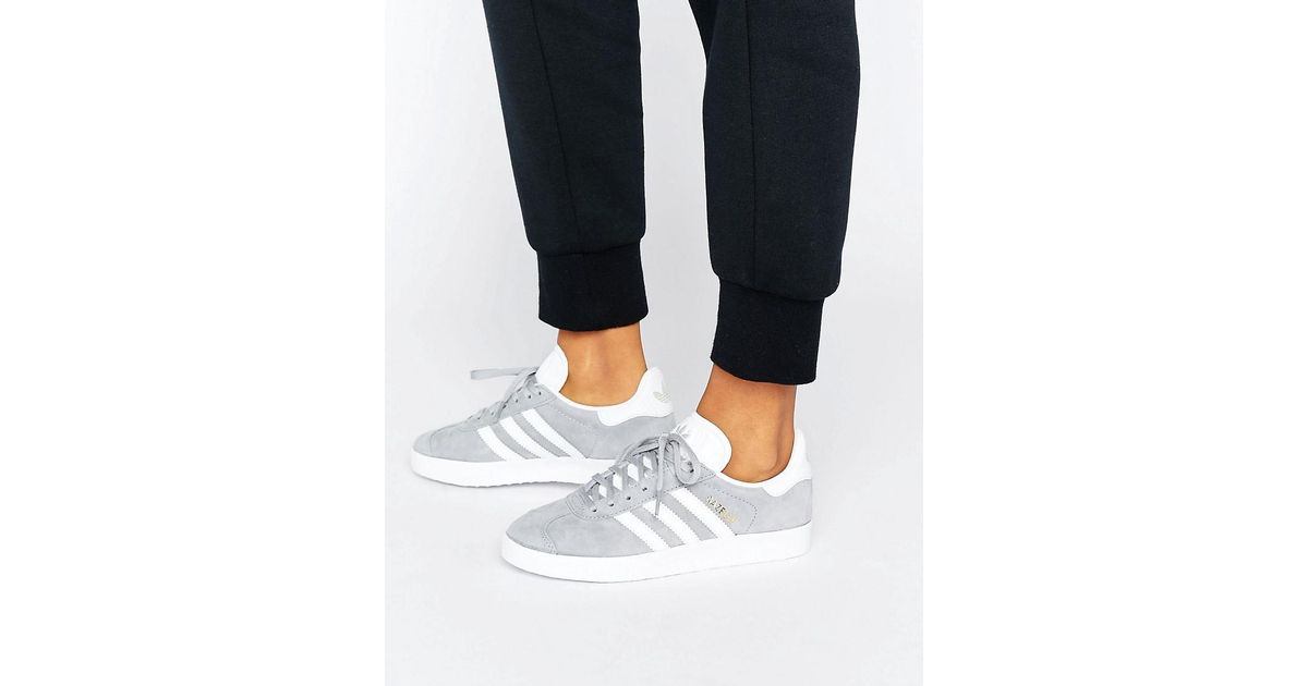 f9ff6d973908 Lyst - adidas Originals Originals Gray Gazelle Sneakers With Snake Effect  Trim in Gray