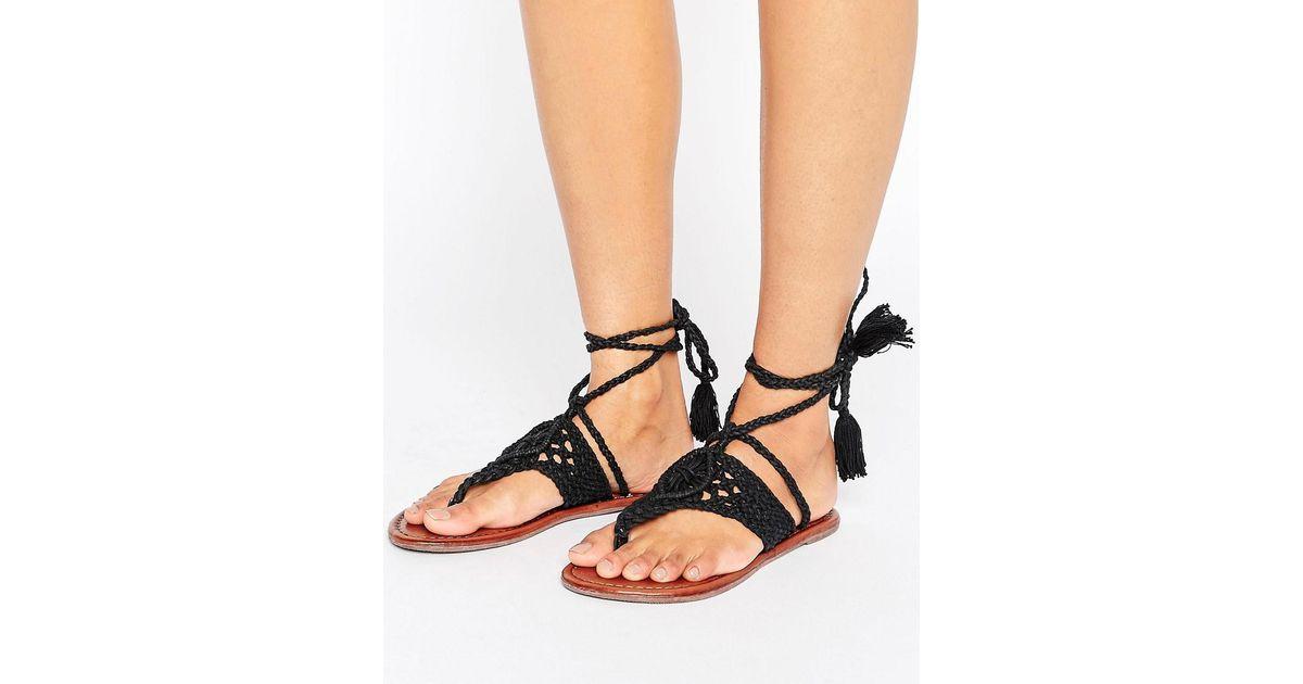 f7d5c2075e7 Lyst - ASOS Fossil Crochet Tie Leg Flat Sandals in Black
