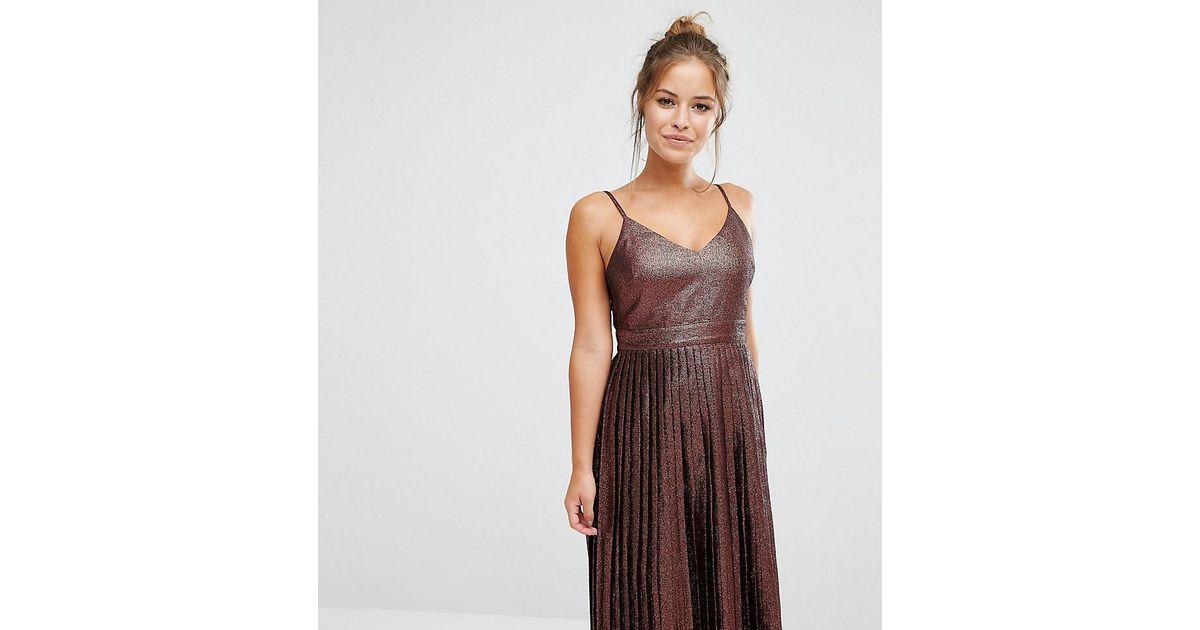 f19b41981a Lyst - ASOS Midi Pleated Cami Dress In Bronze Metallic in Brown