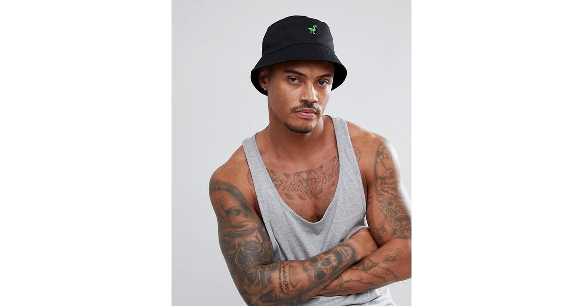 9e3e5ebb343 Lyst - ASOS Bucket Hat In Black With Dinosaur Embroidery in Black for Men
